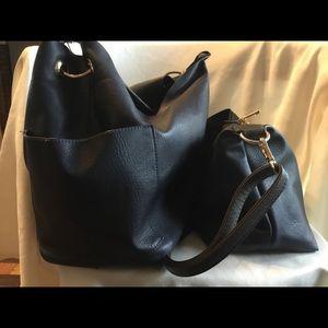 2 in 1 navy vegan leather - bag in a bag shoulder